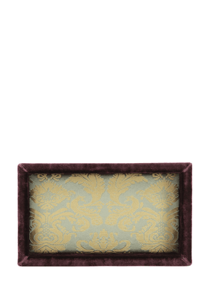 Peacock Silk Damask Valet Tray