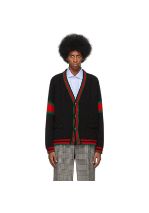 Gucci Black Cable Knit Web Cardigan