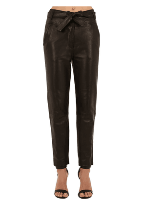 Faxon Belted Straight Leg Leather Pants