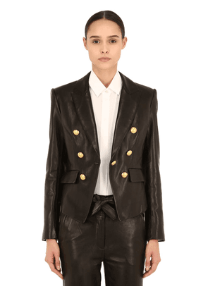 Cooke Double Breasted Leather Blazer