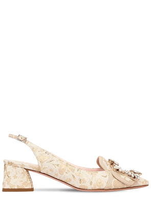 45mm Buckle Slingback Brocade Pumps