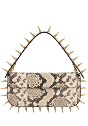 Spiked Snake Printed Leather Clutch Bag