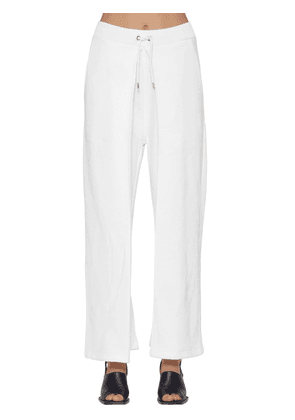 Pleated Cotton Sweatpants W/ Drawstring