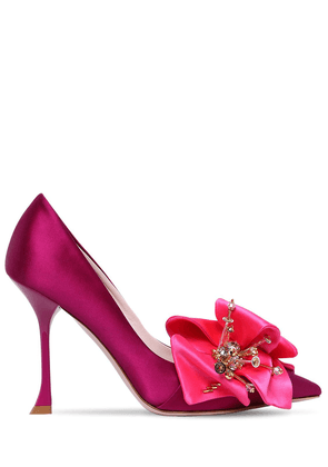 100mm Satin Pumps W/ Flower Appliqué