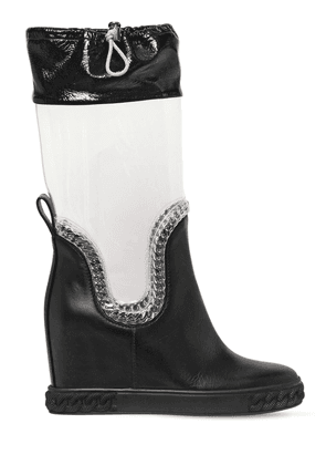 80mm Plexi & Leather Wedge Boots