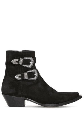 40mm Double Buckle Leather Boots