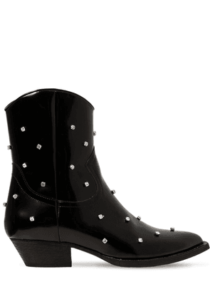 40mm Embellished Faux Leather Boots
