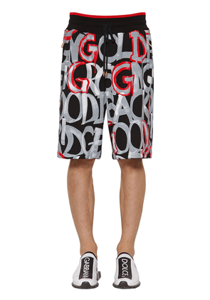 Graphic Printed Cotton Jersey Shorts