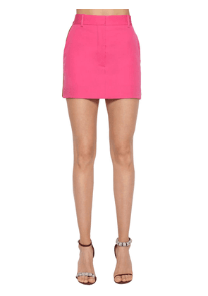 Side Band Wool Gabardine Mini Skirt