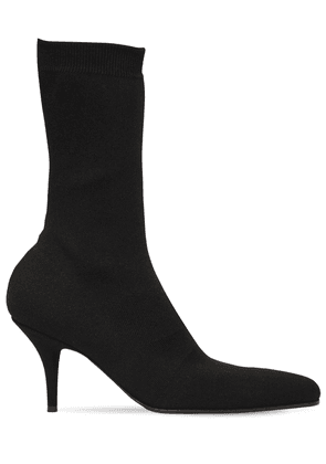 80mm Round Toe Knit Ankle Boots