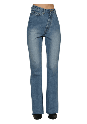 Twisted High Rise Flared Denim Jeans