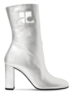 100mm Metallic Leather Ankle Boots