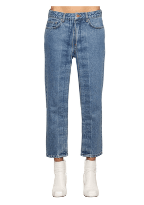 Fixed Pleats Cropped Denim Jeans