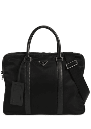 Logo Nylon Bag W/ Leather Top Handles