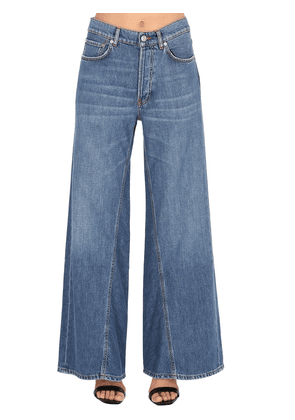 Wide Leg Cotton Denim Jeans