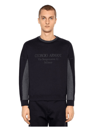 Logo Embroidered Cotton Blend Sweatshirt