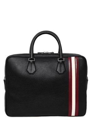 Logo Stripe Pebbled Leather Briefcase