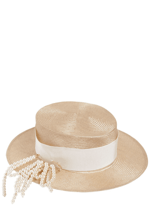 Small Brim Boater Hat W/ Pin