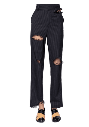 Destroyed Pinstriped Wool Blend Pants