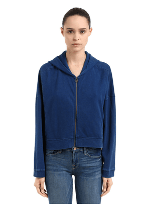 Oversize Hooded Cotton Crop Sweatshirt