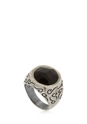 Ara Engraved Silver Ring W/ Onyx
