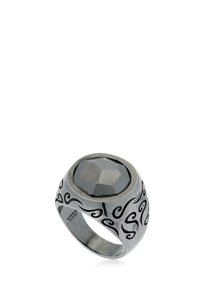 Ara Engraved Silver Ring W/ Stone