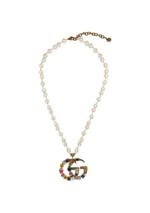 Gucci Gold Crystal and Pearl Pendant Necklace