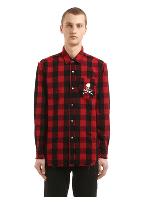 Skull Checked Cotton Flannel Shirt