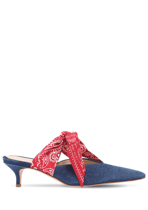 35mm Silk Bandana & Denim Mules