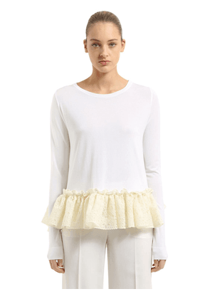 Knit Sweater With Ruffled Lace Hem