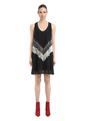 Fringed & Studded Nappa Suede Dress