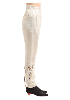 Floral Embroidered Satin Pants