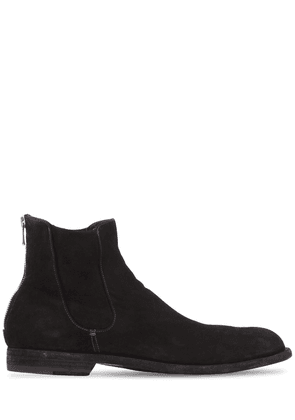 Washed Suede Cropped Boots
