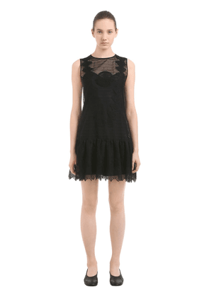 Sheer Silk & Cotton Lace Mini Dress