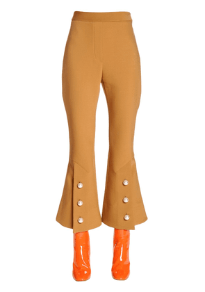 Flared Cool Wool Pants W/ Buttons