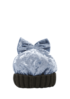 Velvet & Wool Knit Beanie Hat W/ Bow