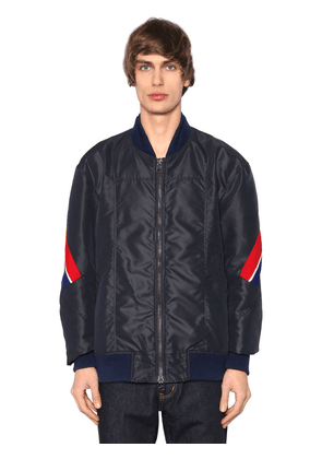 Nylon Bomber Jacket W/ Striped Bands