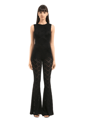 Brushed Lace Stretch Flared Jumpsuit