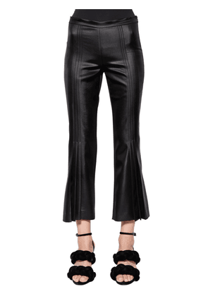 Pleated Satin Cropped Pants