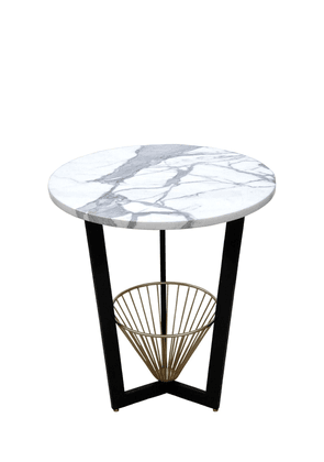 Basket Table With Marble Top