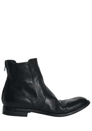 Washed Leather Cropped Boots