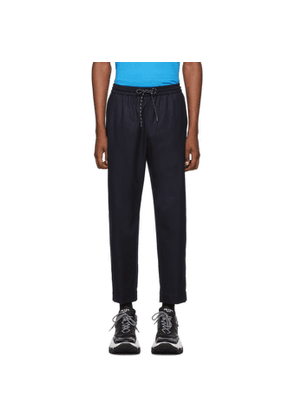 Kenzo Navy Wool Tapered Trousers