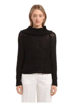 Off The Shoulder Cotton Knit Sweater