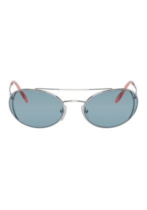 Prada Silver and Blue Metal Frame Sunglasses