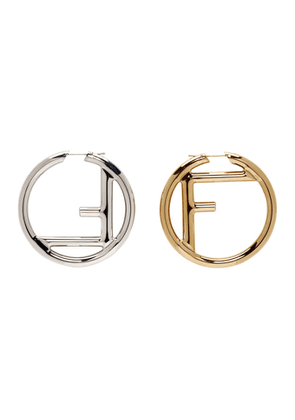 Fendi Gold and Silver F is Fendi Earrings