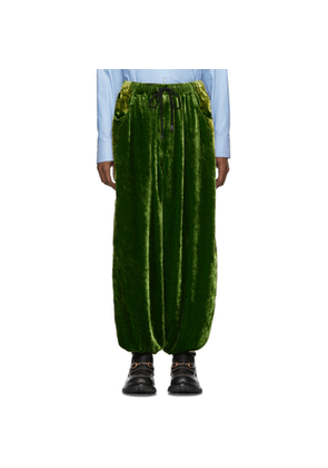 Gucci Green Crushed Velvet and Silk Lounge Pants