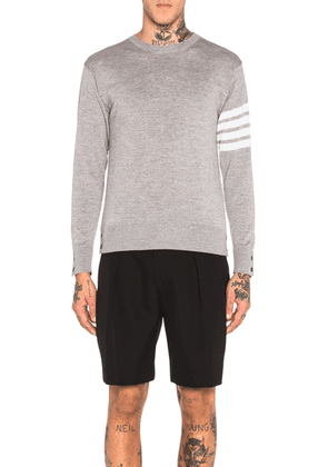 Thom Browne Classic Merino Crewneck Sweater in Light Heather Grey - Grey. Size 0 (also in 1,2,3,4).