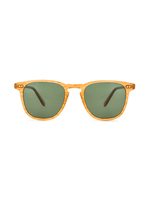 Garrett Leight Polarized Brooks in Butterscotch & Green Polar - Yellow. Size all.