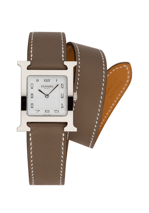 Hermes Heure Hour mm in Etoupe - Brown,Gray. Size all.
