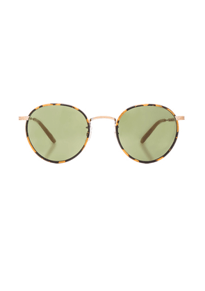 Garrett Leight Wilson 49 in Tortoise Amber Honey & Pure Green - Brown,Animal Print. Size all.